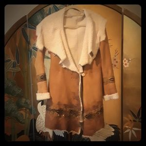 Free People hand painted sheepskin coat